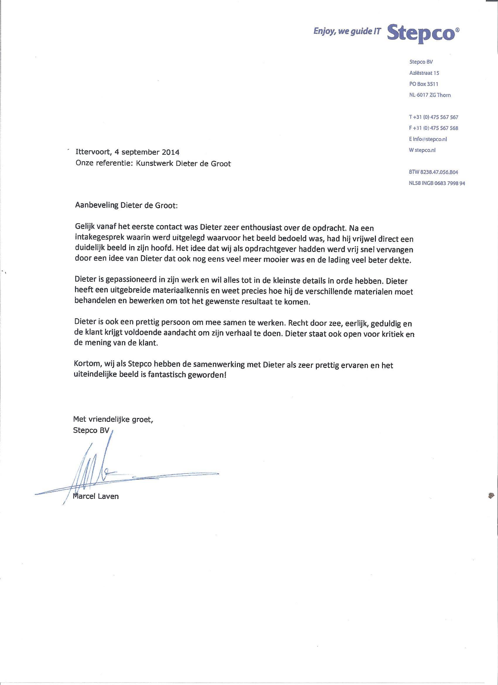 aanbeveling Stepco voor Atelier de Groot aanbeveling (2)
